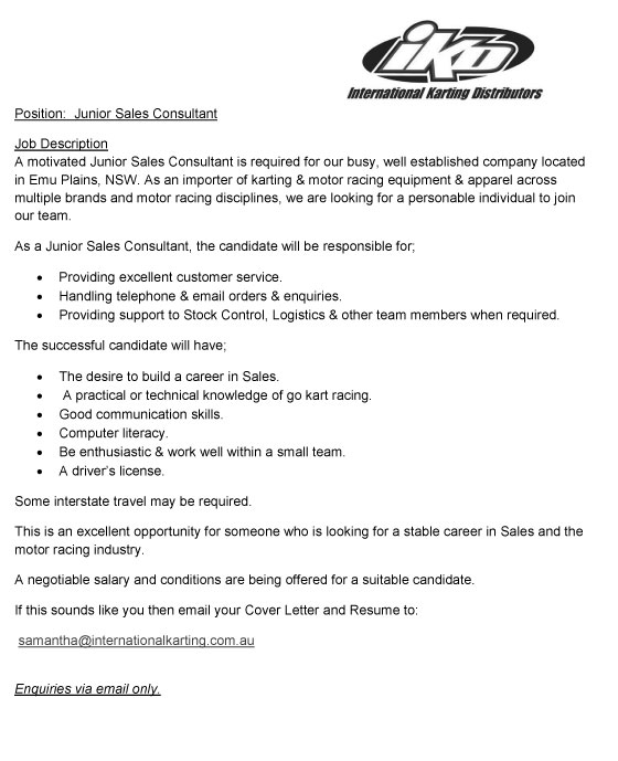 IKD looking for a Junior Sales Consultant - Industry Press Release