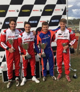 BirelART Australia had four drivers in the top five podium in Rotax Light at Puckapunyal – From L – R; Nicholas Andrews – 4th, Brad Jenner – 1st, Cody Gillis – 2nd, Mitchell Maddren – 5th