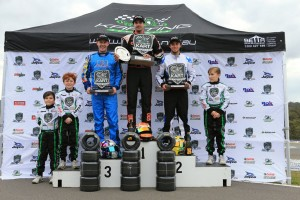 Ricciardo Kart Junior Team driver Troy Loeskow on the podium (Pic: Coopers Photography)