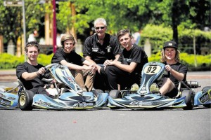 Andrew Walter with the AWC Academy drivers for 2016 (Pic: Paul Scambler)
