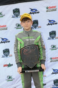 Tyler Everingham on the podium at the final round of the 2015 Australian Kart Championship (Pic: Coopers Photography)
