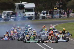The drivers in the KZ2 class will reach speeds in excess of 120 km/h around the Dubbo circuit. (Pic: Coopers Photography)