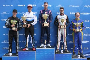 DD2 Podium - 1st Nathan Tigani, 2nd Marijn Kremers, 3rd Troy Woolston, 4th Chris Bregonje, 5th Brock Plumb (Pic: IKD Media)