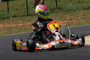 Jason Pringle was resplendent in the #1 but a late chain failure cost him a podium in KZ2 (Pic: Coopers Photography)