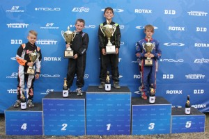 Micro Max Podium - 1st Sebastian Ruiz, 2nd Ryan Tomsett, 3rd Mack Hazard, 4th Emerson Vincent, 5th Jordan Ensbey (Pic: IKD Media)