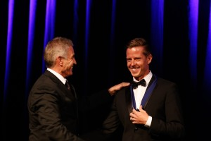 James Courtney was presented with his Hall of Fame medallion by Karting Australia Chairman Mick Doohan