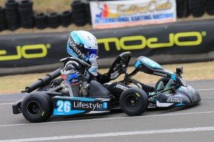 Kai Allen crossing the line for victory in Mini Max (Pic: Coopers Photography)