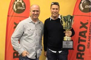 The 2014 Jason Richards Memorial winner, Steven Ellery, with Managing Director of International Karting Distributors Ian Black (Pic: Rotax Media)