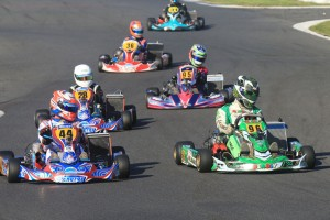 Jonathon Mangos and David leading the KZ2 pack action today (Pic: Coopers Photography)