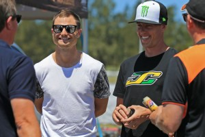 James Courtney (right) with fellow Supercars driver Tim Slade at the 2015 Race of Stars (Pic: Coopers Photography)
