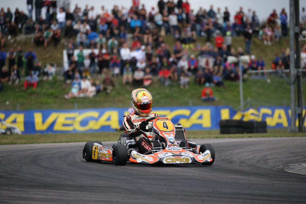 Paolo De Conto on his way to victory in the recent World Karting Championship in Sweden
