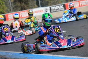 Joshua Fife led home an 8 kart train in the DD2 Final with team made Cody Gillis in 2nd and Exprit's Nathan Tigani in 3rd (Pic: Coopers Photography)