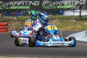 Bundaberg-based European Championship regular, Troy Loeskow won the opening KZ2 Gearbox heat (Pic: Coopers Photography)