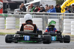 Jay Hanson leading Zac Chrichton in KA4 Junior (Pic: Coopers Photography)
