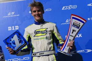 Harrison Hoey was all smiles after being victorious in Junior Max (Pic: Coopers Photography)