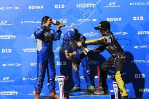 The champagne being sprayed on the Mini Max podium (Pic: Coopers Photography)