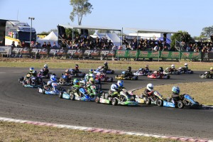 The Cadet 12 field racing into turn one on the Emerald circuit (Pic: Coopers Photography)