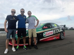 Joel Johansson, Davide Fore and Tomas Gasperak with the Castrol EDGE Commodore at the Norwell Motorplex