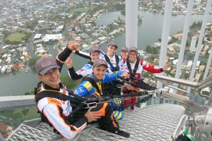 Six of the international drivers high above the Gold Coast on the SkyPoint climb atop the Q1 Building.