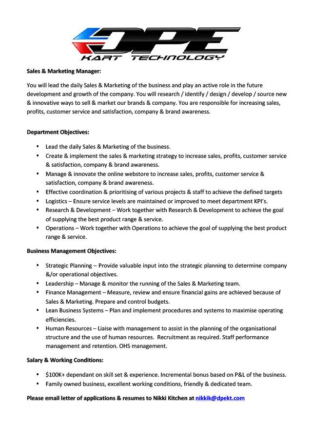 S&M Manager Position Description[4]