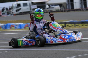 Joshua Fife crossing the line for victory in the KZ2 Final (Pic: Coopers Photography)