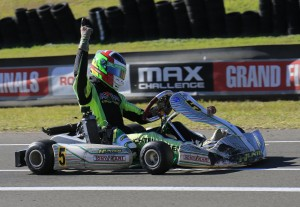 Lucas Litchenberger crossing the line for victory in Rotax Light (Pic: Coopers Photography)