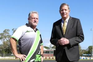 Bunbury City Kart Club President Mick Kenny (Left) with City of Bunbury Mayor Gary Brennan